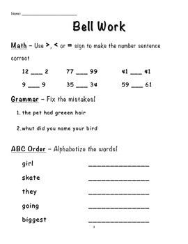 First Grade Bell Work