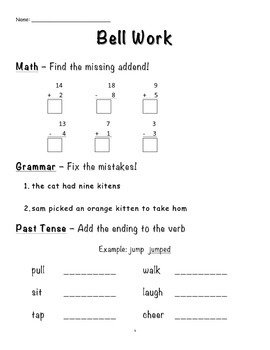 First Grade Bell Work Packet 2