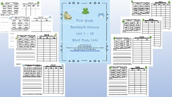 First Grade Benchmark Word Study / Spelling Word Lists, Units 1 – 10
