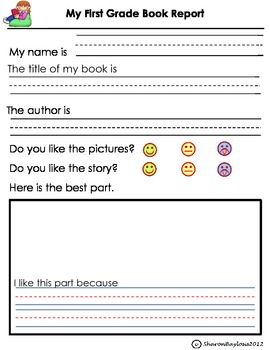 First Grade Book Report- Independent Reading