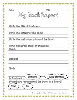 First Grade Book Report Worksheet