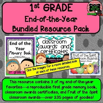 First Grade Bundled Resource Pack (End of the Year Memory Book and Awards)