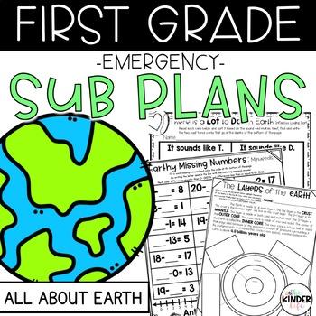 "First Grade C.C. Aligned April ""Earth"" Print & Go Sub Plans + Editable Sub Info"