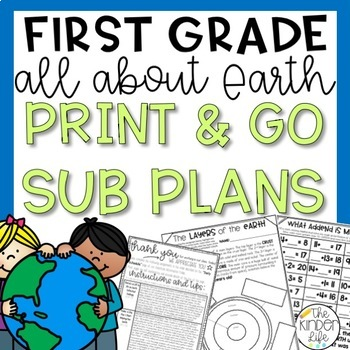 First Grade Sub Plans April Earth C.C. Aligned + Editable Sub Info Binder