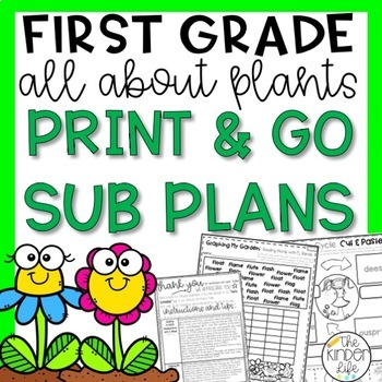 "First Grade C.C. Aligned April ""Plants"" Print & Go Sub Plans + Editable Sub Info"