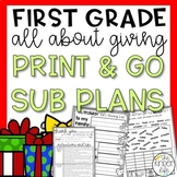 First Grade Emergency Sub Plans December Giving Kindness