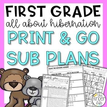 First Grade Sub Plans December Hibernation Animals + Editable Sub Info