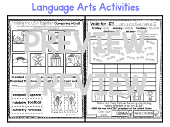 "First Grade C.C. Aligned February ""Presidents"" Print&Go Sub Plans+Editable Info"