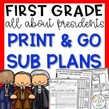 Presidents Day First Grade Sub Plans February + Editable Sub Info Binder