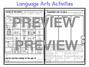 "First Grade C.C. Aligned January ""MLK Jr"" Print & Go Sub Plans+Editable Sub Info"