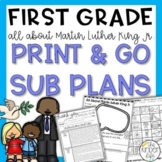Martin Luther King Jr First Grade Sub Plans January + Editable Sub Info Binder