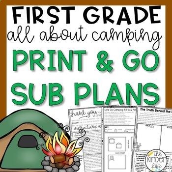 "First Grade C.C. Aligned June ""Camping"" Print & Go Sub Plans & Editable Sub Info"