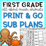 First Grade Sub Plans June Sea Animals C.C. Aligned + Editable Sub Info Binder
