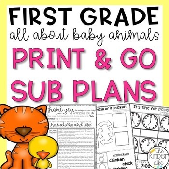 """First Grade C.C. Aligned March """"Baby Animals"""" Print & Go Sub Plans"""