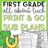 Emergency Sub Plans St. Patrick's Day March First Grade