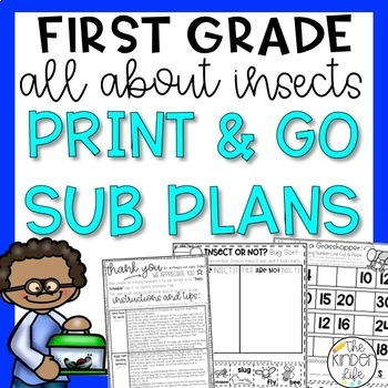 """First Grade C.C. Aligned May """"Insects"""" Print & Go Sub Plans + Editable Sub Info"""