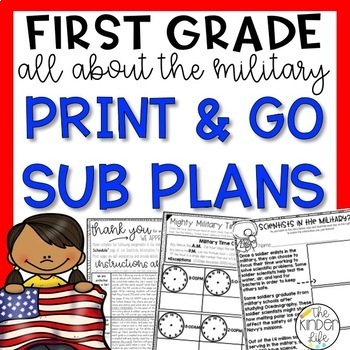 """First Grade C.C. Aligned May """"Memorial Day"""" Print & Go Sub Plan"""