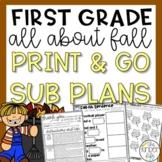 First Grade Emergency Sub Plans November Fall