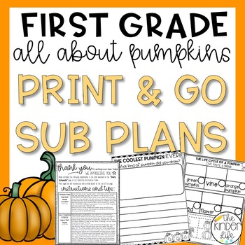 "First Grade C.C. Aligned November ""Pumpkin"" Print & Go Sub Plans & Editable Info"