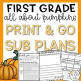 First Grade Emergency Sub Plans November Pumpkins