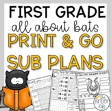 First Grade Sub Plans October Bats C.C. Aligned Print & Go