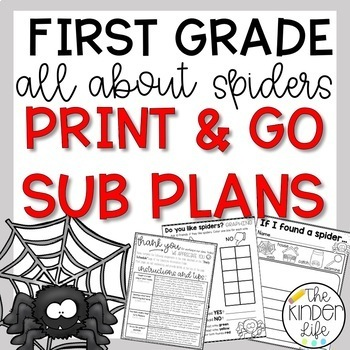 """First Grade C.C. Aligned October """"Spiders"""" Print & Go Sub Plans & Editable Info"""