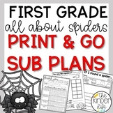October First Grade Emergency Sub Plans Spiders