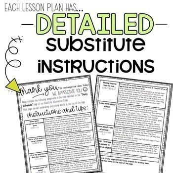 First Grade C.C. Aligned Sub Plans Year-Round BUNDLE + Editable Sub Info