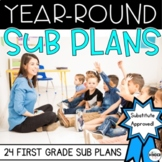 First Grade Sub Plans Themed Year-Round C.C. Aligned BUNDLE + Editable Sub Info