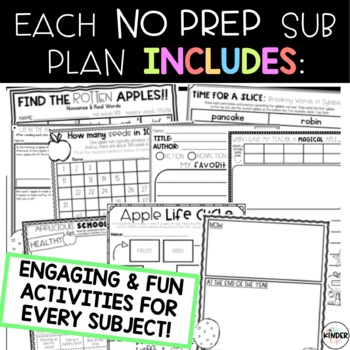 First Grade Sub Plans for the Entire Year BUNDLE + Editable Sub Info