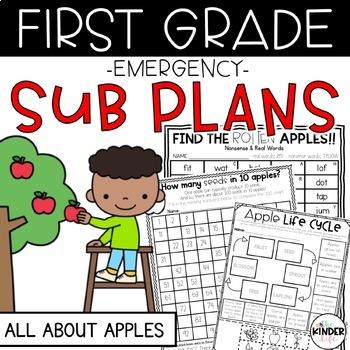 """First Grade C.C. Aligned September """"Apples"""" Print & Go Sub Plans & Editable Info"""