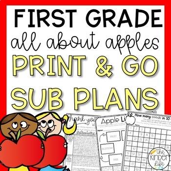 First Grade Sub Plans September Apples Print & Go Sub Plans & Editable Sub Info
