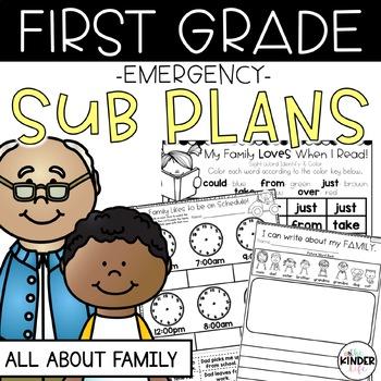 """First Grade C.C. Aligned September """"Family"""" Print & Go Sub Plans & Editable Info"""