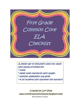 First Grade CCSS ELA Checklist: Simple Way to Document What You Teach