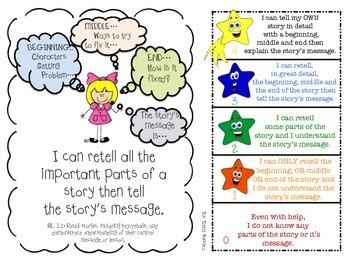 CCSS ELA  Rl & RL  Goals with Graphics and Rubrics for First Grade