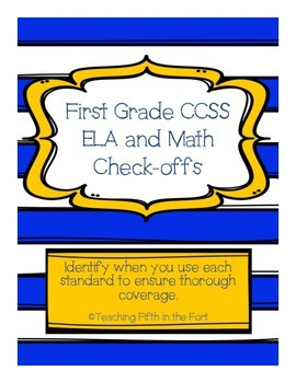 """First Grade CCSS ELA and Math Standards """"Check Offs""""/Pacing Guide"""