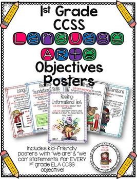 First Grade CCSS Language Arts Objectives Poster Set