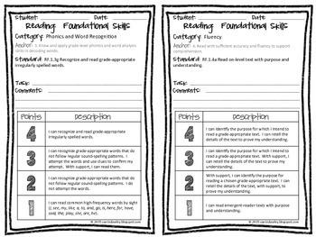 First Grade CCSS Language Arts Rubrics