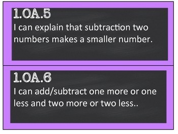 First Grade CCSS Math Standard Cards, I Can Statements, and Essential Questions