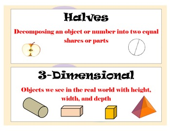 First Grade CCSS Math Vocabulary Word Wall Cards for Bulletin Board/Math Wall