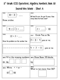 First Grade CCSS NWEA Math Review sheets