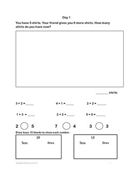 First Grade CGI Daily Math Warm Ups