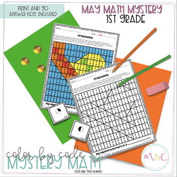 First Grade COLOR BY CODE MATH - May Mystery Math
