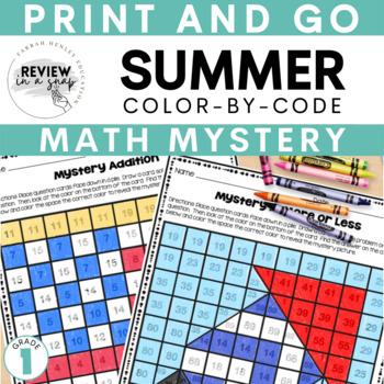 First Grade COLOR BY CODE MATH - SUMMER Mystery Math