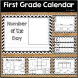 Back to School First Grade Calendar Wall Math Wall Printables Chevron Theme