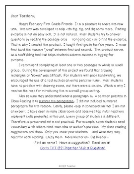 First Grade Can You Dig It? Close Reading Passages for February
