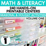 First Grade Centers Math and ELA -- Year Long GROWING BUNDLE