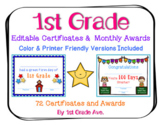 End of the Year Certificates & First Grade Awards for the Entire Year - Editable