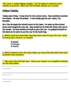 First Grade Character Feelings Quiz (RL.1.4)