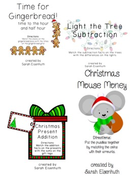 First Grade Christmas Math Game Bundle